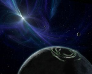 Artist impression of the PSR B1257+12 planetary system. [Credit: NASA/JPL-Caltech/R. Hurt (SSC)]